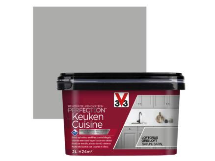 V33 Perfection peinture rénovation cuisine satin 2l gris loft