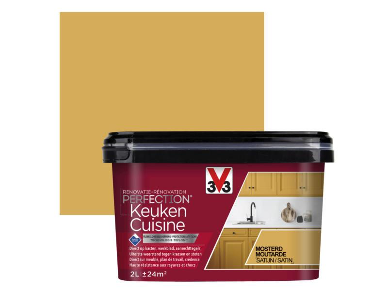 V33 Perfection peinture rénovation cuisine satin 2l moutarde