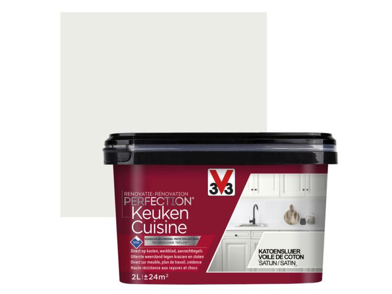 V33 Perfection peinture rénovation cuisine satin 2l voile de coton