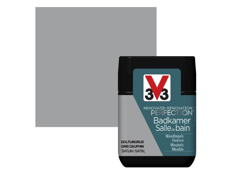 V33 Perfection peinture rénovation salle de bains satin 0,75l gris dauphin