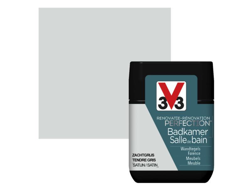V33 Perfection peinture rénovation salle de bains satin 0,75l gris tendre
