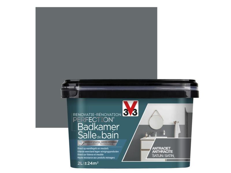 V33 Perfection peinture rénovation salle de bains satin 2l anthracite