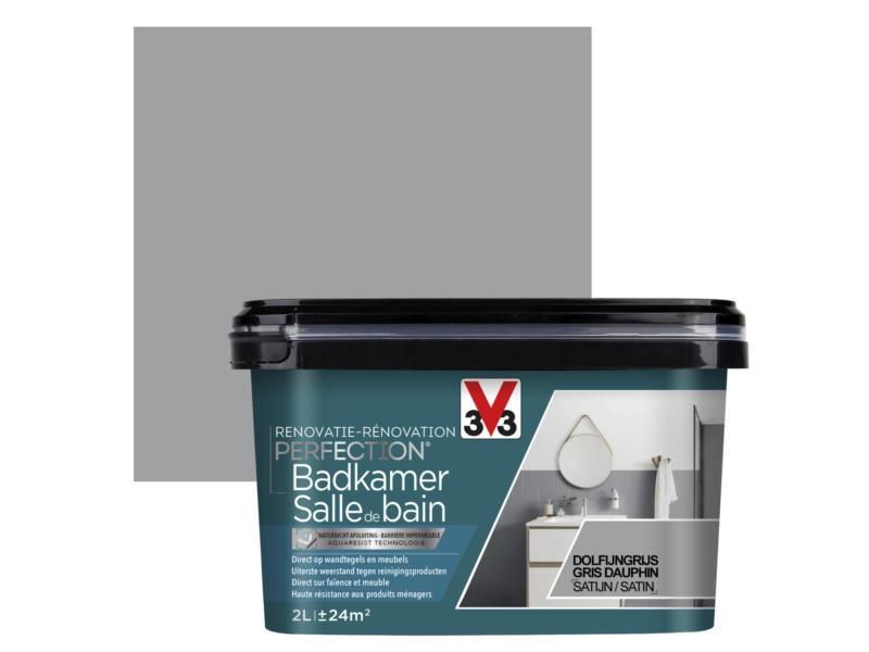 V33 Perfection peinture rénovation salle de bains satin 2l gris dauphin