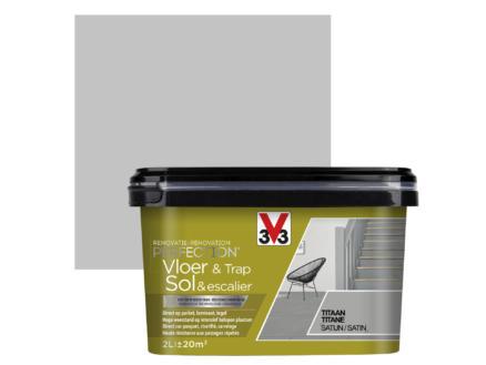 V33 Perfection peinture rénovation sol & escalier satin 2l titane