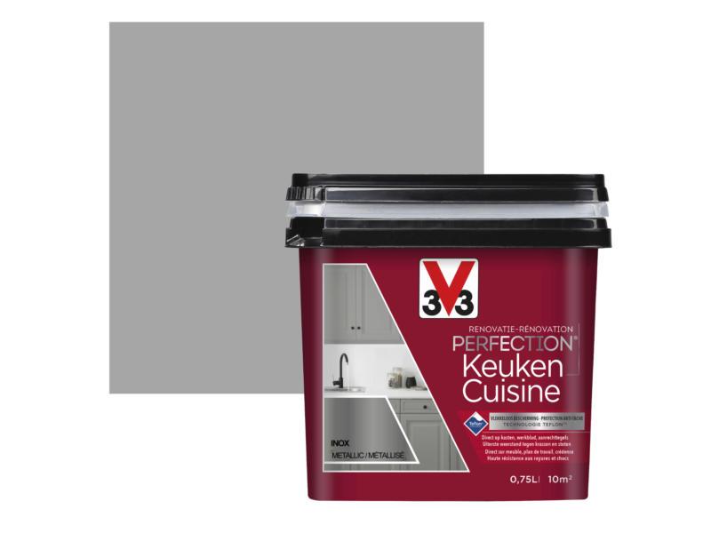V33 Perfection renovatieverf keuken metallic 0,75l inox