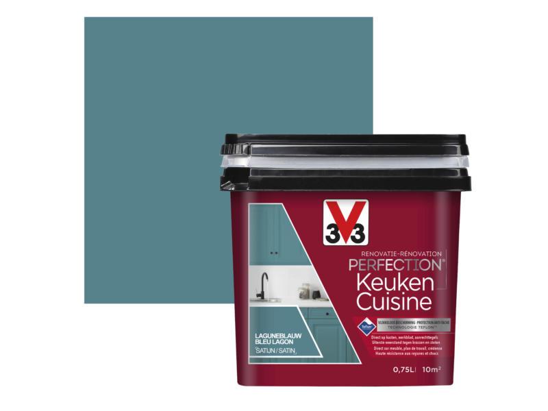V33 Perfection renovatieverf keuken zijdeglans 0,75l laguneblauw