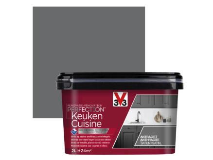 V33 Perfection renovatieverf keuken zijdeglans 2l antraciet