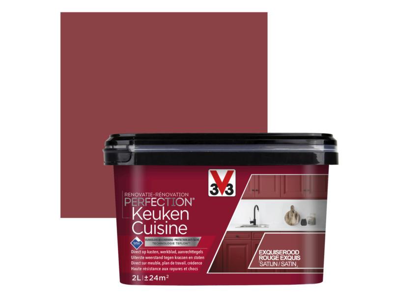 V33 Perfection renovatieverf keuken zijdeglans 2l exquiserood