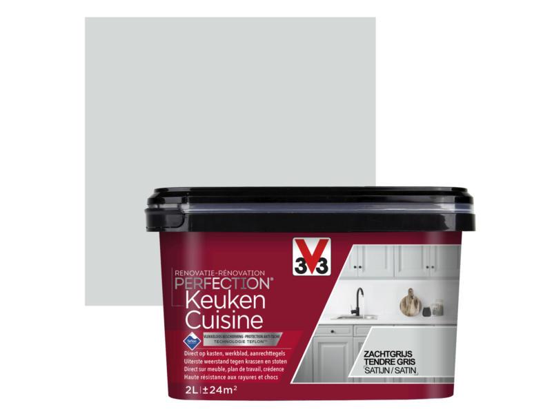 V33 Perfection renovatieverf keuken zijdeglans 2l zachtgrijs