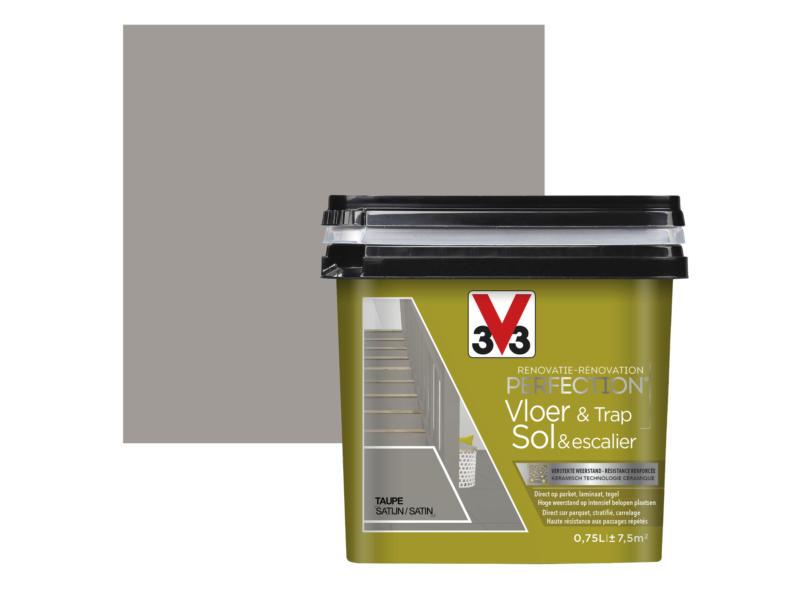 V33 Perfection renovatieverf vloer & trap zijdeglans 0,75l taupe