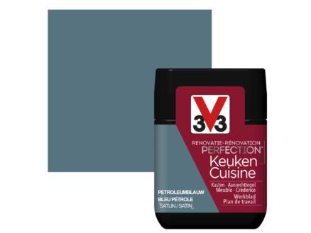 V33 Perfection tester renovatieverf keuken zijdeglans 75ml petroleumblauw