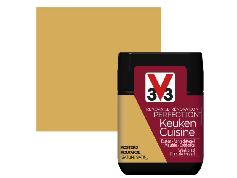 V33 Perfection testeur peinture cuisine satin 75ml moutarde