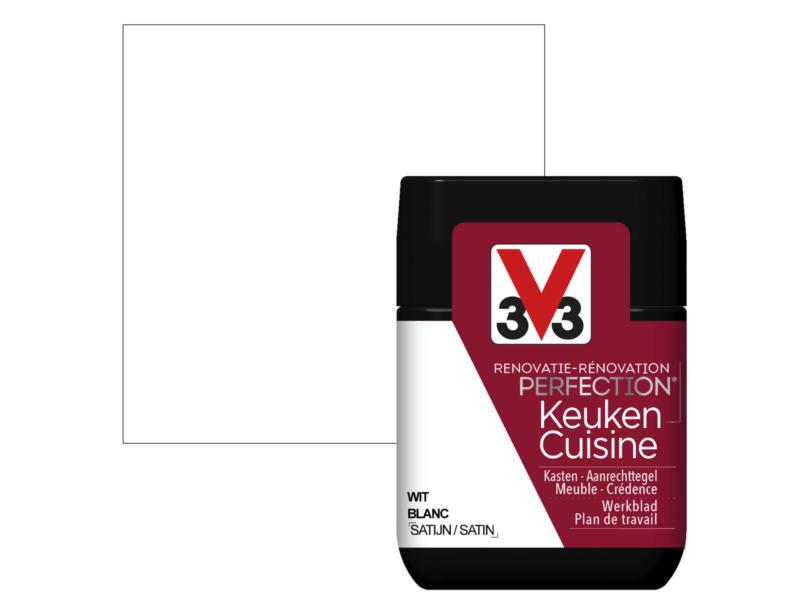 V33 Perfection testeur peinture rénovation cuisine satin 75ml blanc
