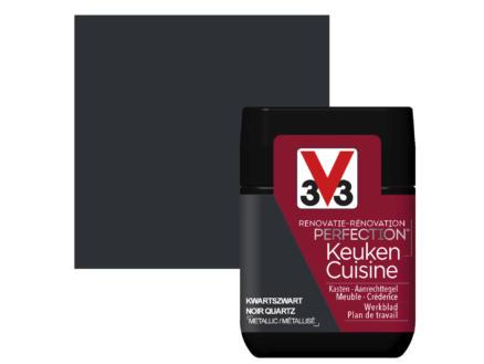 V33 Perfection testeur peinture rénovation cuisine satin 75ml noir quartz