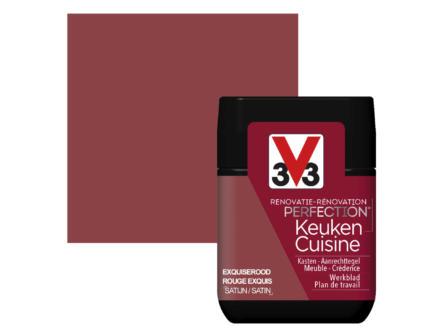 V33 Perfection testeur peinture rénovation cuisine satin 75ml rouge exquis