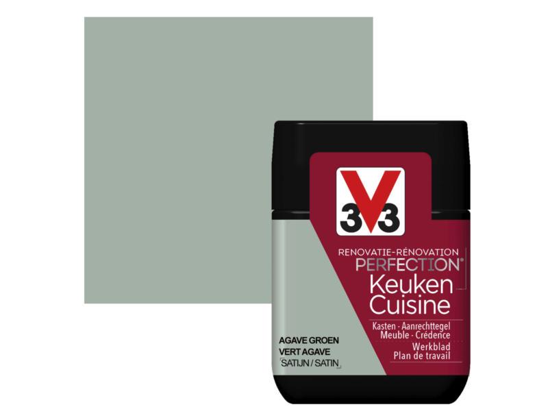 V33 Perfection testeur peinture rénovation cuisine satin 75ml vert agave