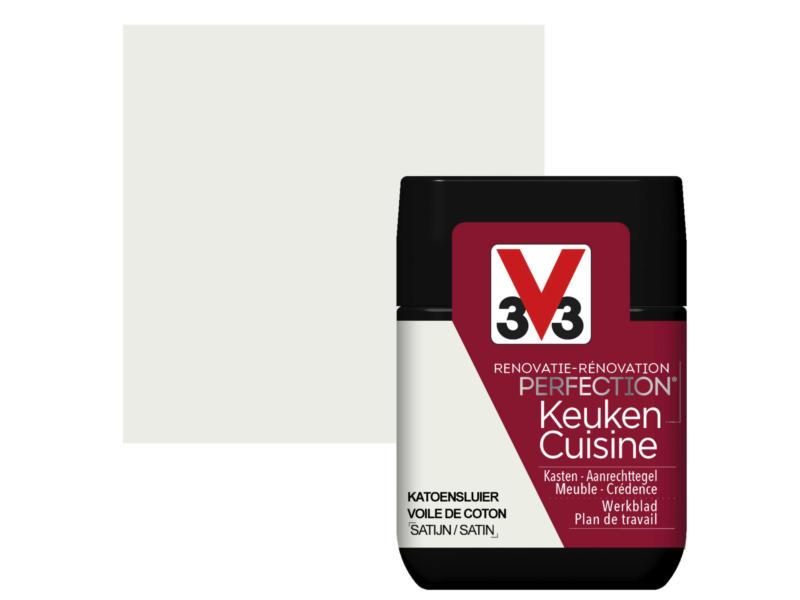 V33 Perfection testeur peinture rénovation cuisine satin 75ml voile de coton