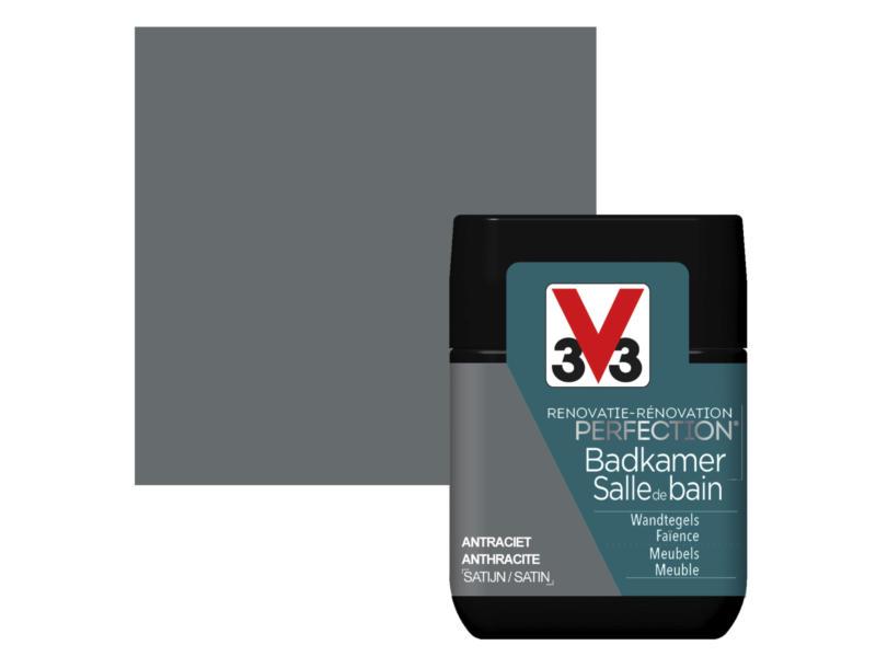 V33 Perfection testeur peinture salle de bains satin 75ml anthracite