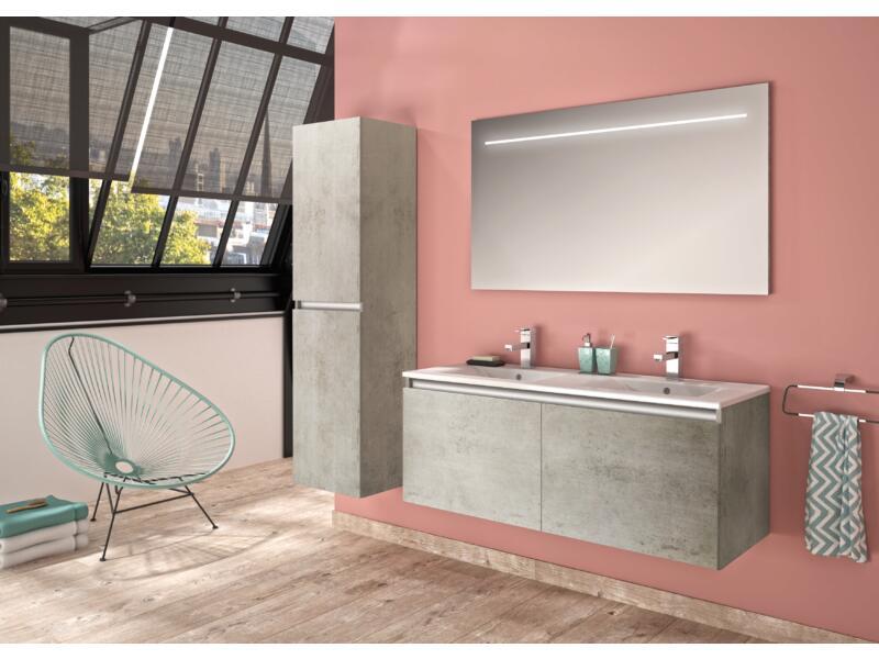 Allibert Pesaro meuble lavabo 120cm 2 portes béton clair