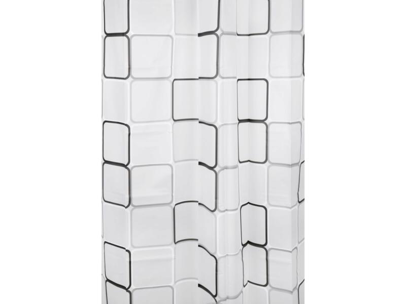 Differnz Peva Cubi douchegordijn 180x200 cm zwart/wit