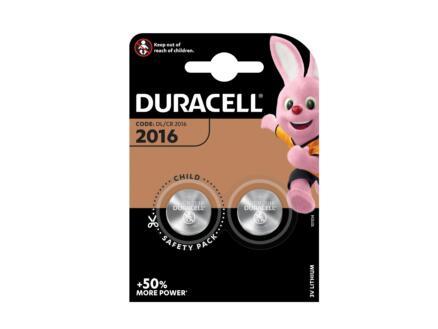 Duracell Pile bouton CR2016 lithium 3V 2 pièces