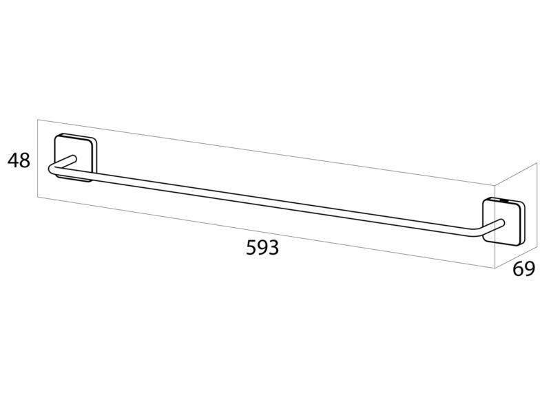 Tiger Porte-serviettes simple Onu 59cm inox brossé