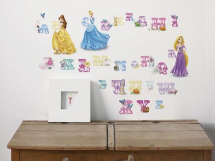 Disney Princesses stickers muraux alphabet multicolore
