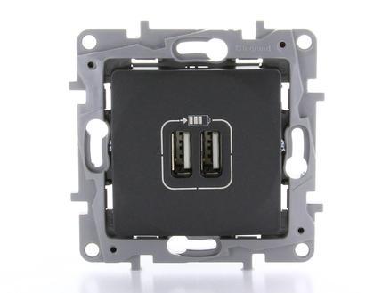 Legrand Prise Niloé avec 2 chargeurs USB anthracite