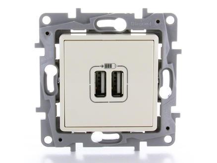 Legrand Prise Niloé avec 2 chargeurs USB crème