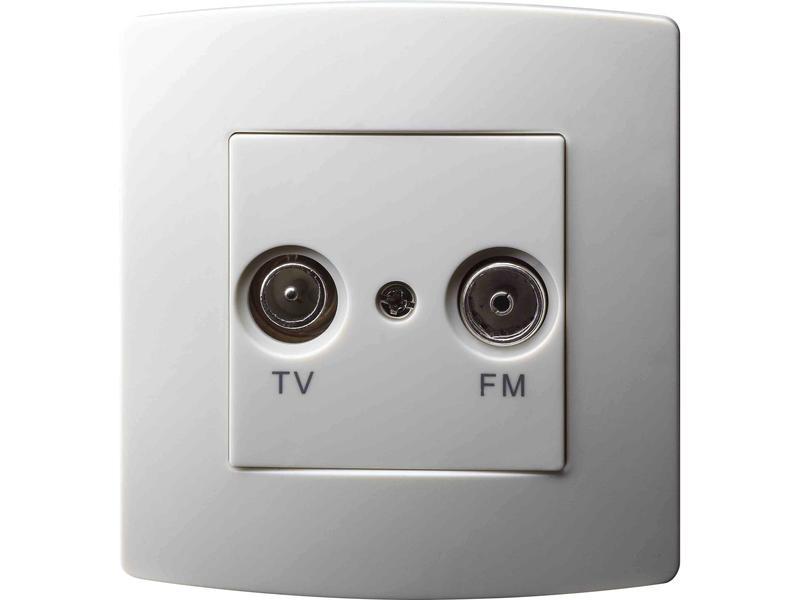 Prise antenne Radio/TV blanc