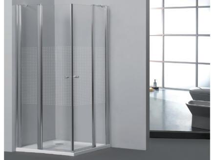 Allibert Priva paroi de douche 80x80x190 cm accès d'angle 2 portes pivotantes sérigraphie carrés