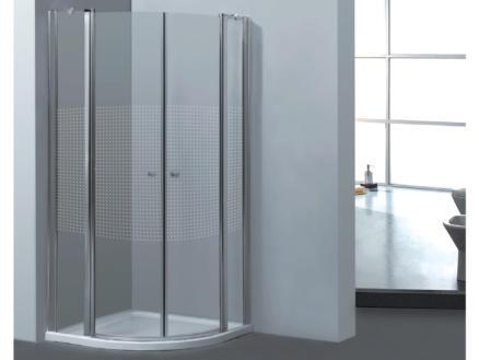 Allibert Priva paroi de douche 90x90x190 cm accès d'angle 2 portes pivotantes 1/4 rond sérigraphie horizontale