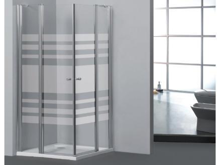 Allibert Priva paroi de douche 90x90x190 cm accès d'angle 2 portes pivotantes sérigraphie horizontale