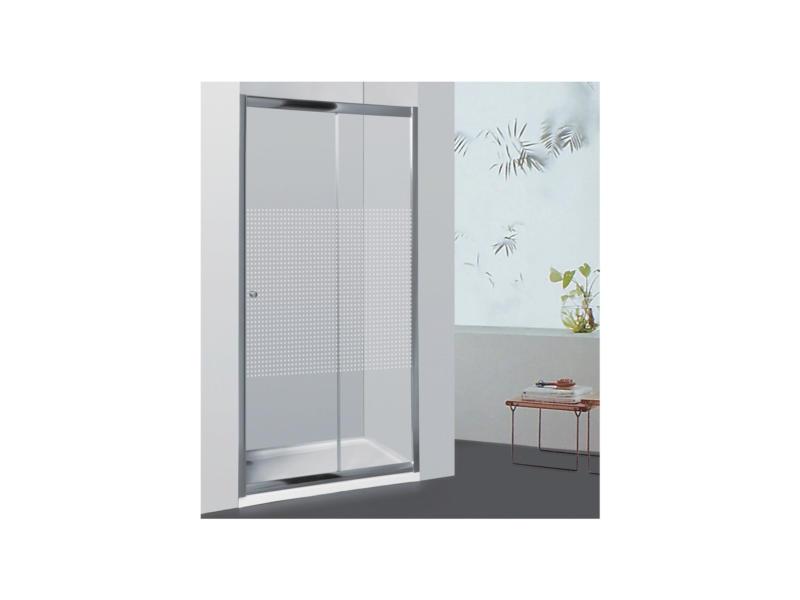 Allibert Priva porte de douche coulissante 116-121x190 cm sérigraphie carrés