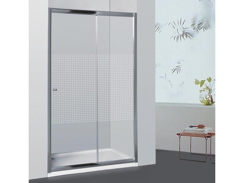 Allibert Priva porte de douche coulissante 136-141x190 cm extensible sérigraphie carrés