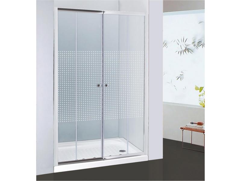 Allibert Priva porte de douche coulissante 156-161x190 cm 2 portes extensible sérigraphie carrés