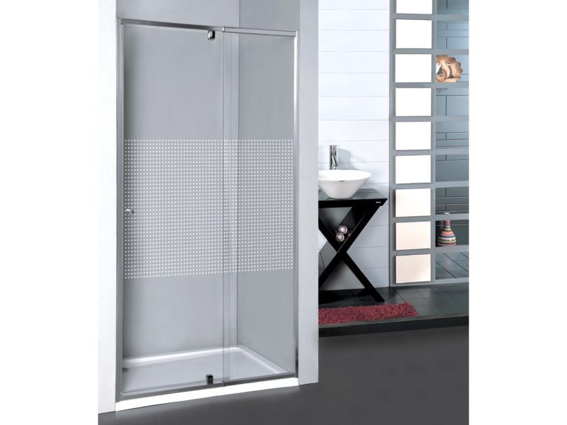 Allibert Priva porte de douche pivotante 68-81x190 cm extensible sérigraphie carrés