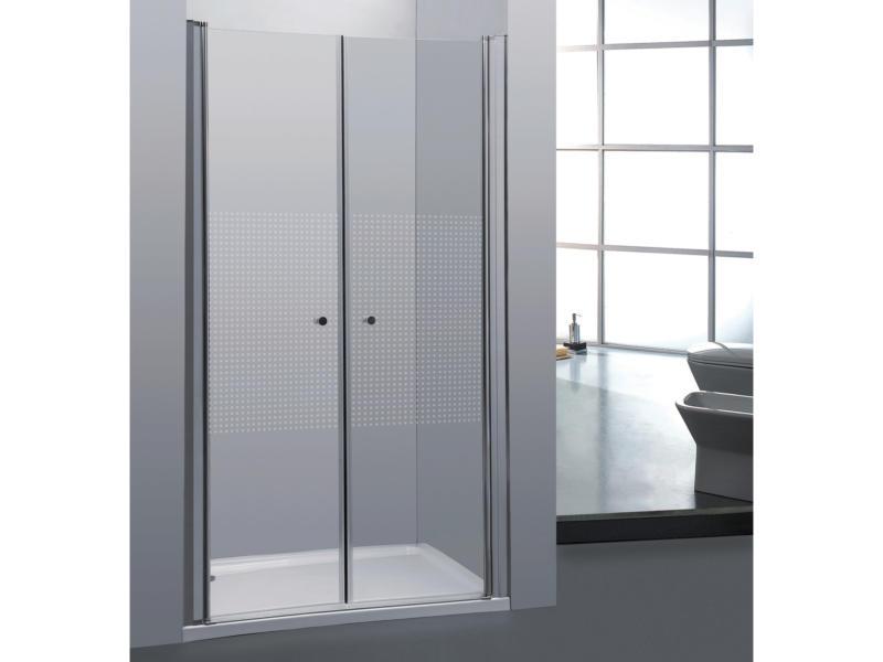 Allibert Priva porte de douche pivotante 80x190 cm 2 portes sérigraphie carrés