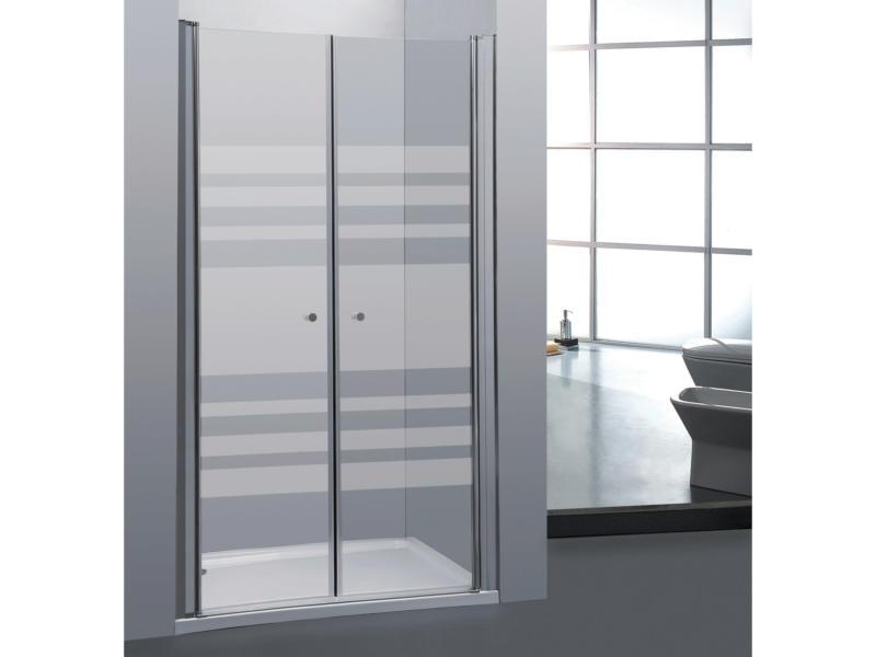 Allibert Priva porte de douche pivotante 80x190 cm 2 portes sérigraphie horizontale