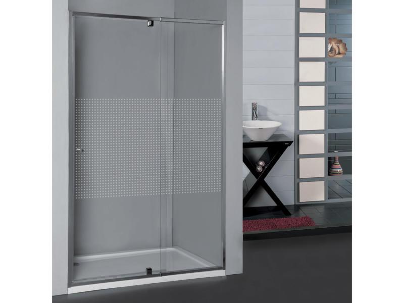 Allibert Priva porte de douche pivotante 87-100x190 cm extensible sérigraphie carrés