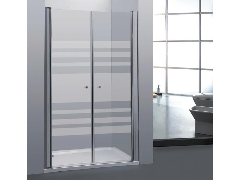 Allibert Priva porte de douche pivotante 90x190 cm 2 portes sérigraphie horizontale