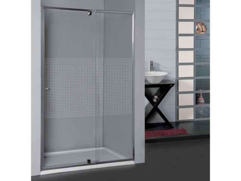 Allibert Priva porte de douche pivotante 97-110x190 cm extensible sérigraphie carrés