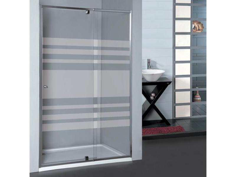 Allibert Priva porte de douche pivotante 97-110x190 cm extensible sérigraphie horizontale