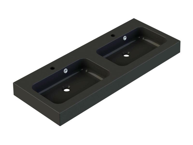 Allibert Roke dubbele wastafel inbouw 120cm polybeton mat zwart