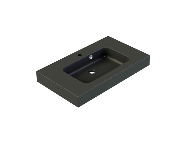 Allibert Roke lavabo encastrable 80cm polybéton mat noir