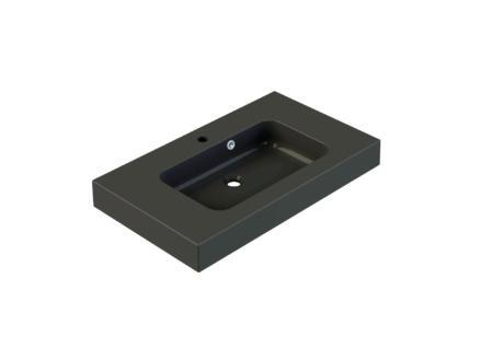 Allibert Roke wastafel inbouw 80cm polybeton mat zwart