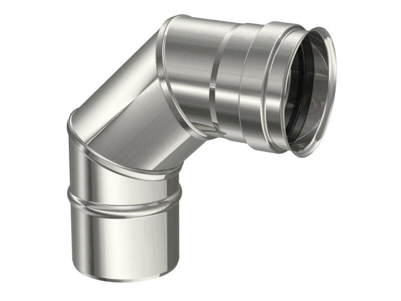 Saninstal Rookafvoer bocht voor pelletkachel inox 316 87° 80mm
