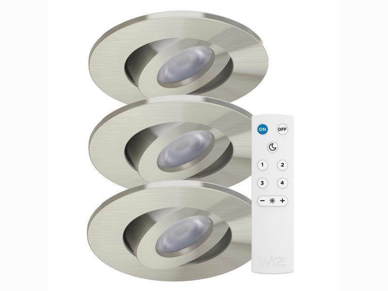 Wiz Rune Color spot LED encastrable 8W + télécommande nickel 3 pièces