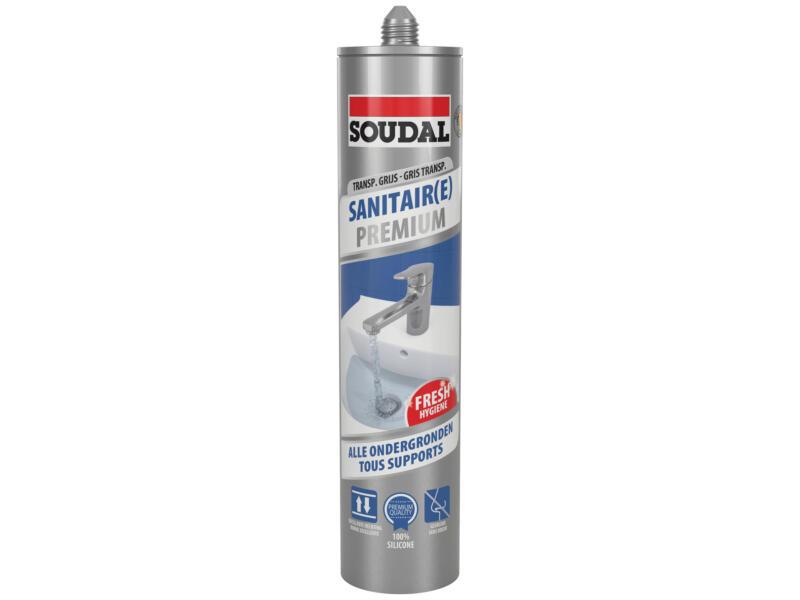 Soudal Sanitaire Premium mastic silicone 290ml transparent gris