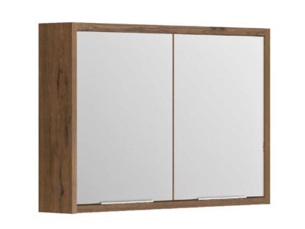 Allibert Sorento armoire de toilette 80cm 2 portes miroir chêne cognac
